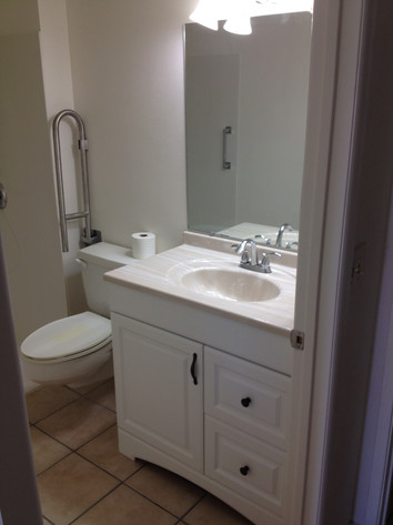 Drop down grab bar at toilet