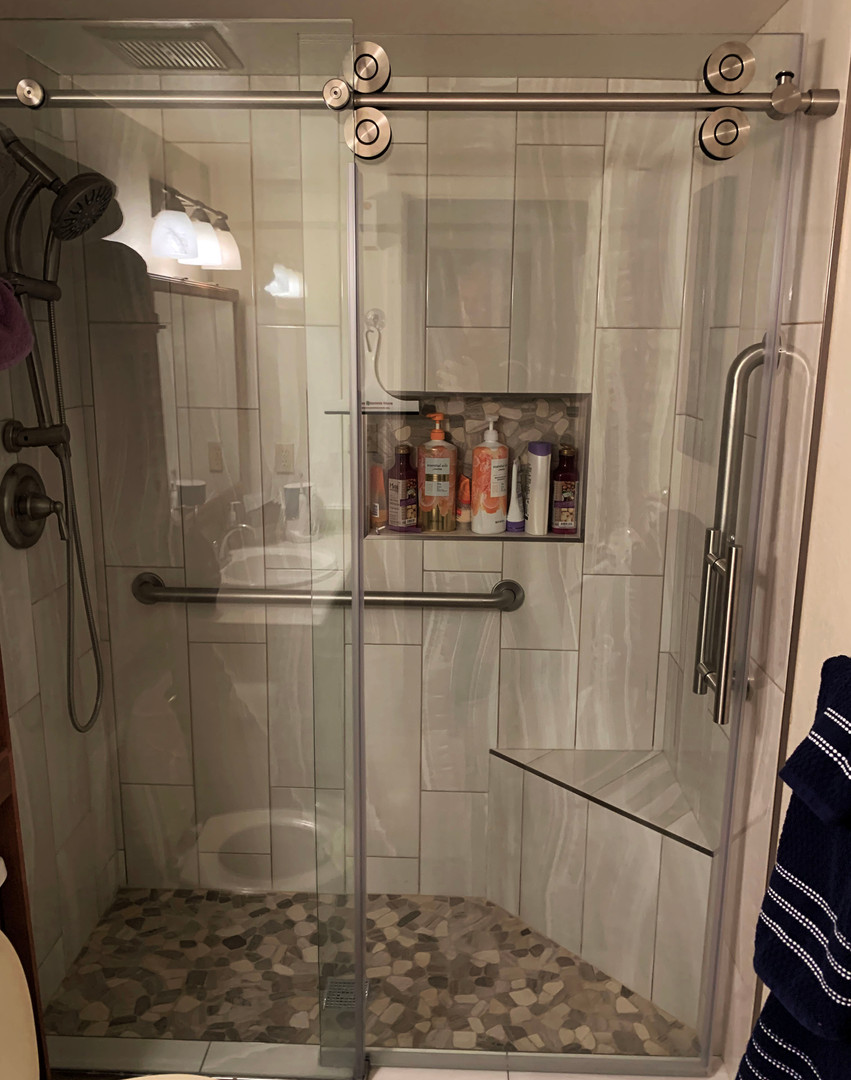 AFTER: Hall Bath with Vertical Shower Tile