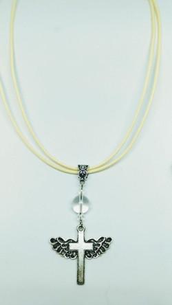 Clear crystal angel wing cross