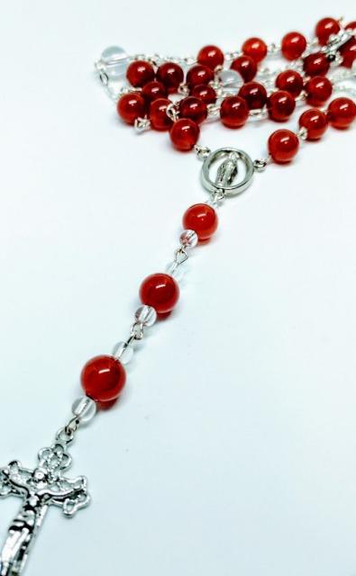 Carnelian &clear crystal Rosary