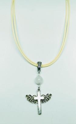 Moon stone angel wing cross