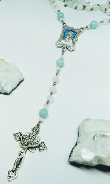 Moon stone& milky aquamarine