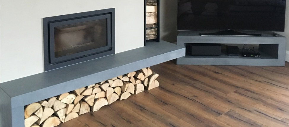 Concrete Fire Hearth & Matching Media Unit