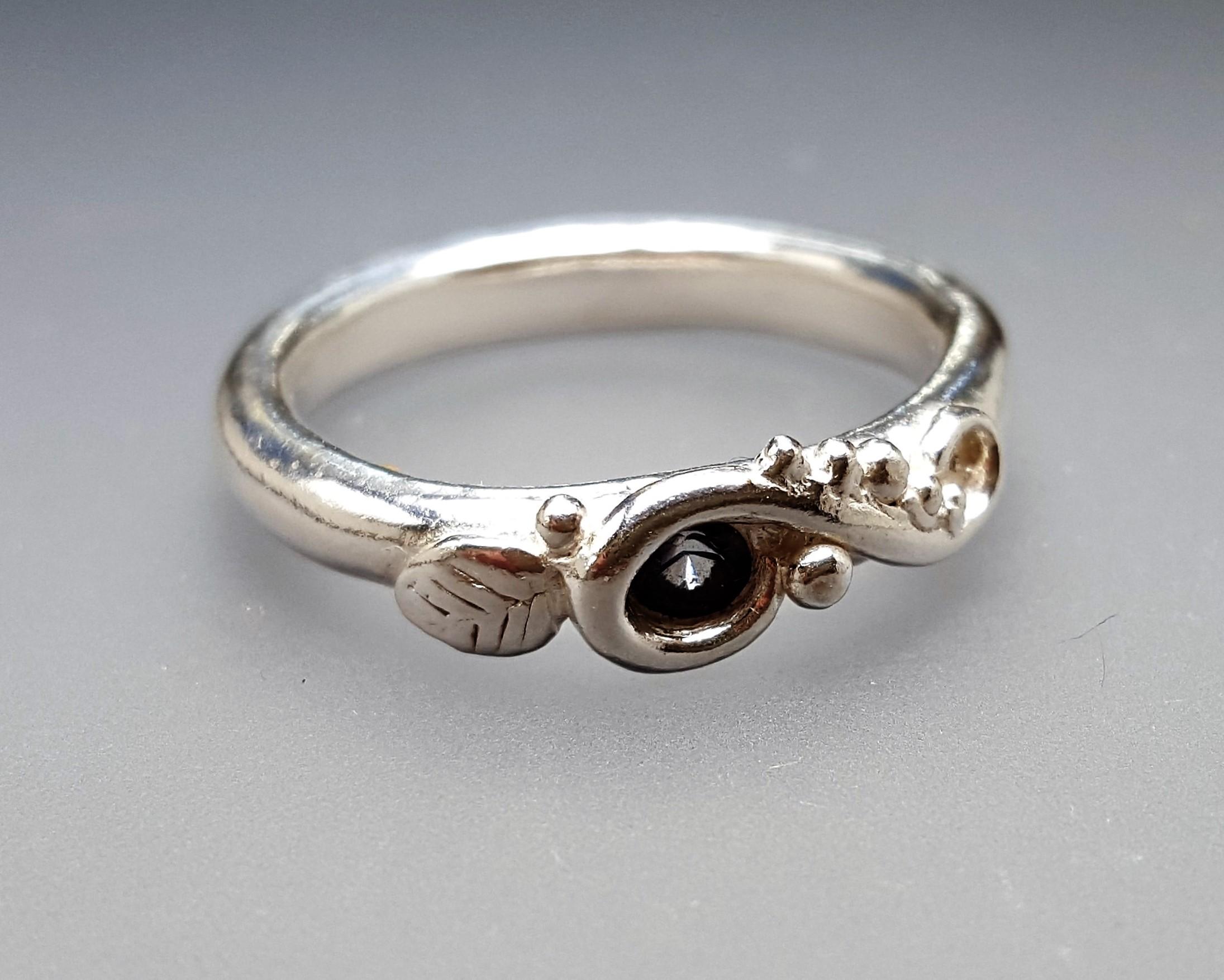 Swirl and Leaf Ring