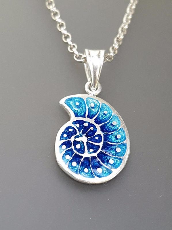 Nautilus - Blue Aqua Pendant