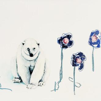 UMBACH, ADAM  Blue Flowers  Oil, enamel,