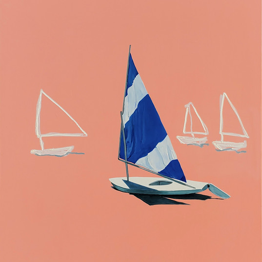 UMBACH, ADAM  Sea Sails  Oil, enamel, an