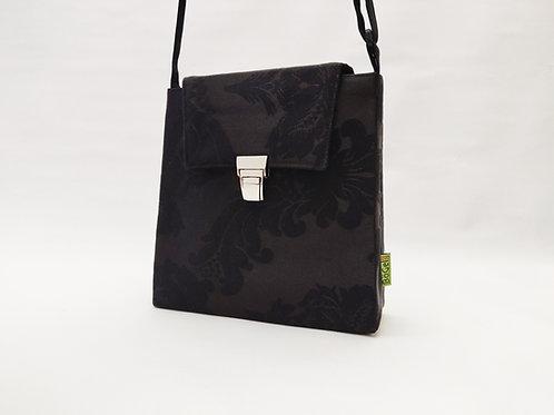 Handtasche schwarz floral, Steckschloss