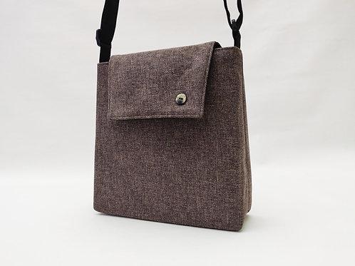 Handtasche graubraun, Magnetverschluss