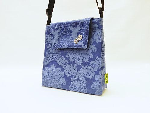 Handtasche blau - floral, Magnetverschluss