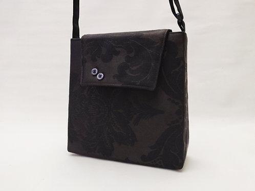 Handtasche schwarz floral, Magnetverschluss