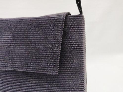 Handtasche Kord antrazithfarben, Magnetverschluss