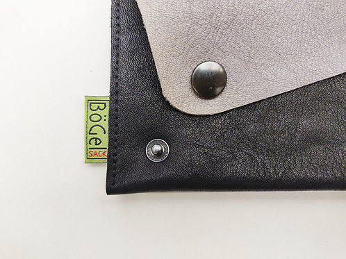 Bio-Leder-Geldbeutel - grau-schwarz