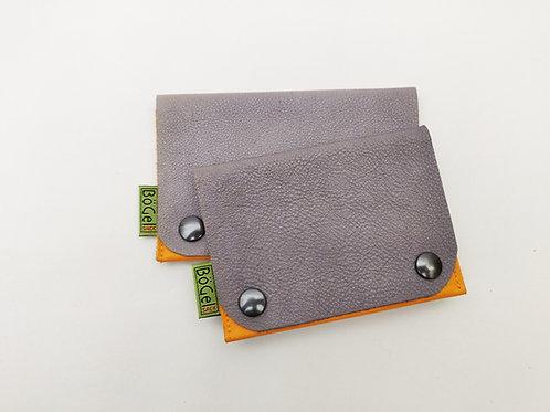 Bio-Leder-Geldbeutel - grau-orange