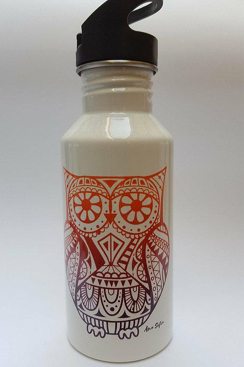 Botella deportiva blanca con popote