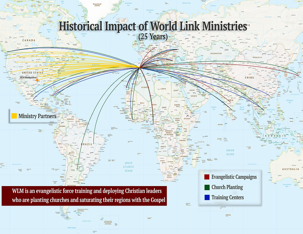 Map that shows 25 years of impact by World Link Ministries