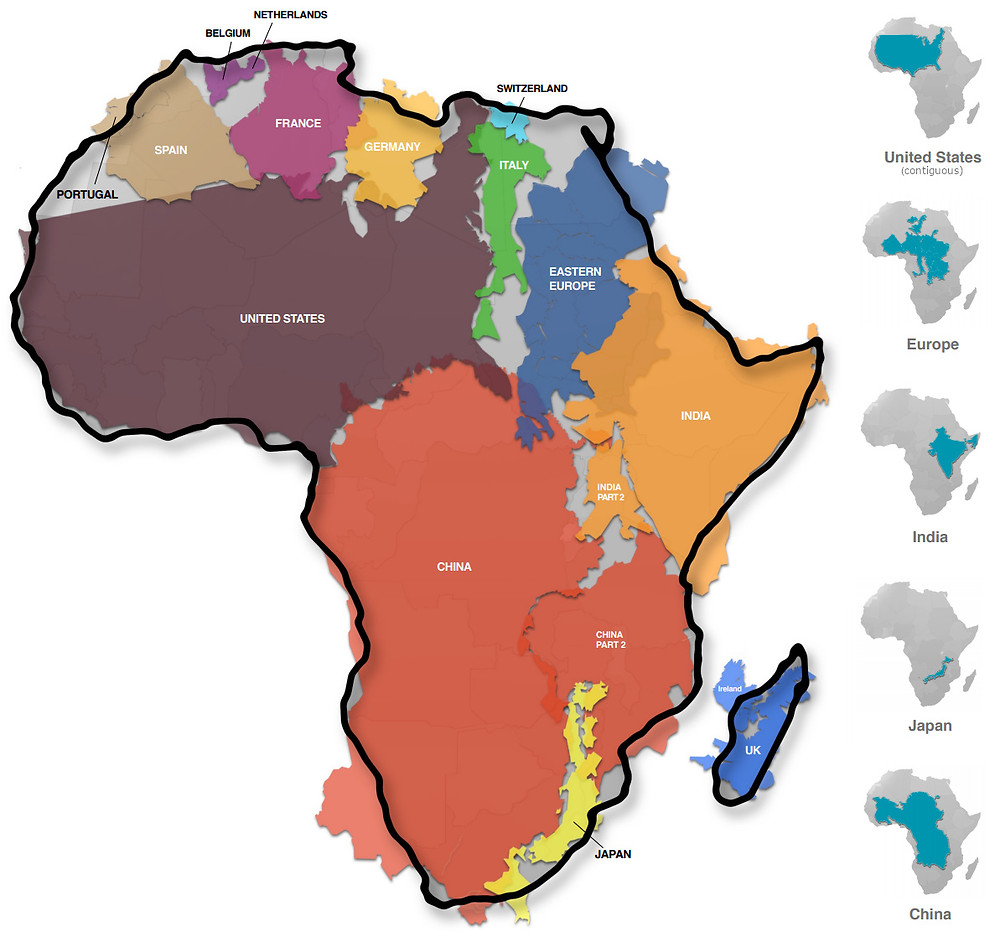 A map of Africa showing just how large the continent is in comparison to China, United States and other countries by placing 10 countries like a jigsaw puzzle puzzle within the continent itself.