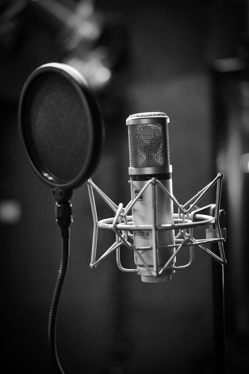 podcast microphone in black and white