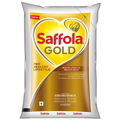 Saffola Gold, Pro Healthy Lifestyle Edible Oil Pouch 1 L