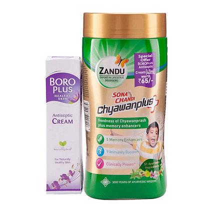 Zandu Sona Chandi Chyawan Prash Plus - 900 g with Free Boroplus Antiseptic