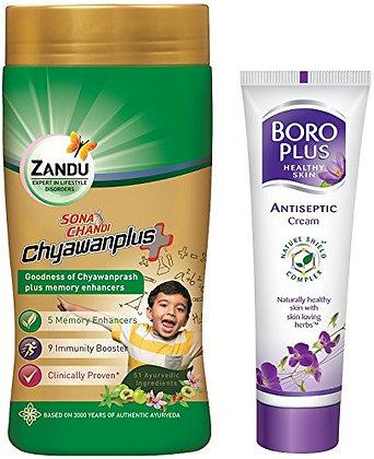 Zandu Sona Chandi Chyawanplus - 450 g with Free Boroplus Antiseptic Cream - 19 m