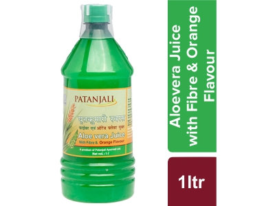 Patanjali AloeVera Juice with fiber and orange flavour 1 L