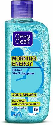 Clean & Clear Morning Energy Aqua Splash Face Wash, Blue, 100 ml