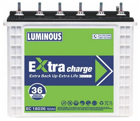 LUMINOUS EXTRA CHARGE EC 18036, 150AH INVERTER BATTERY
