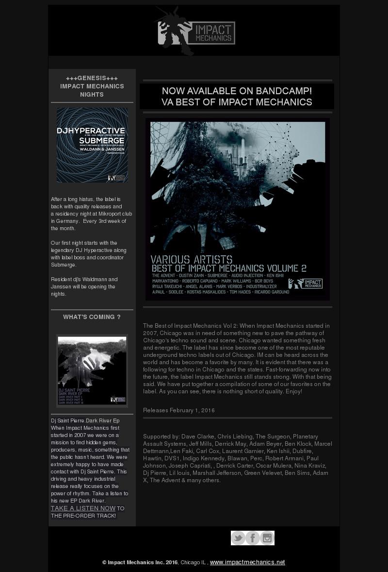 Submerge Dustin Zahn Audio Injection Ken Ishii Mark Verbos A.Paul Markantonio Roberto Capuano Mark Williams The Advent