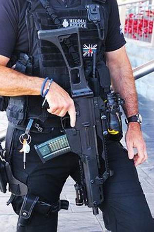 police officer with machine gun
