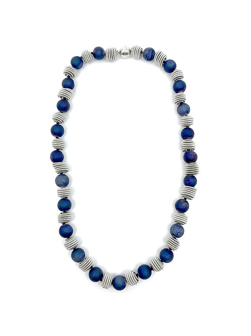 short blue geode necklace with silver coil