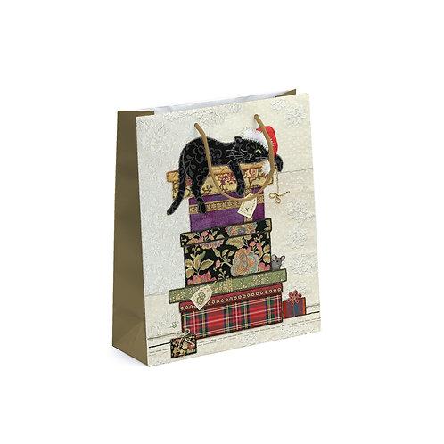 BUG ART CAT ON BOXES MED GIFT BAG, Min Qty: 6