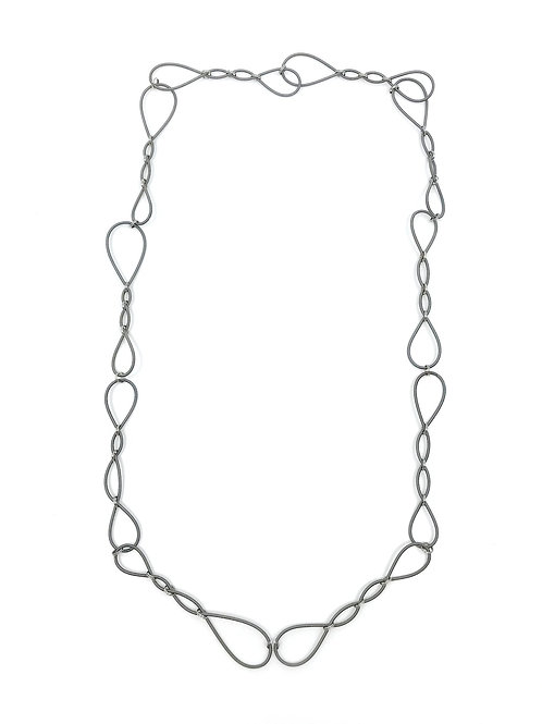 long slate simple wire link necklace