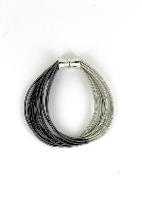 silver-slate two tone pw bracelet with magnet