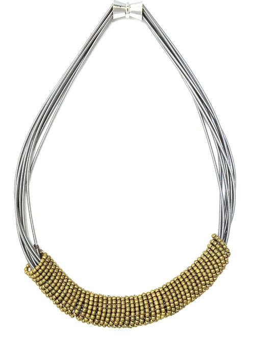 short wire necklace with gold bead rings