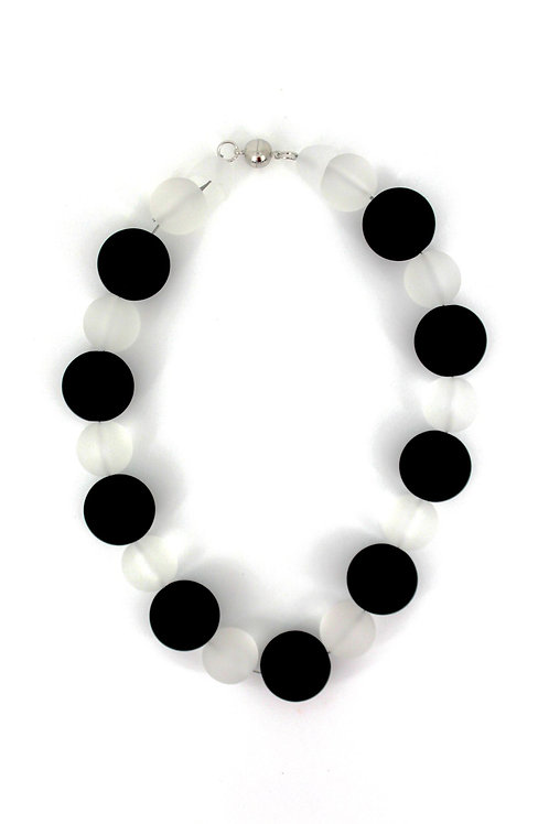 matte black and white rubber beads necklace