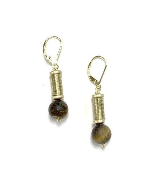 Gold wire w. tiger eye stone earring