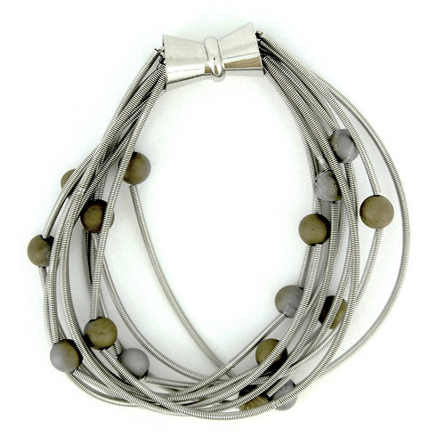 10 layer silver bracelet with silver-gold geo