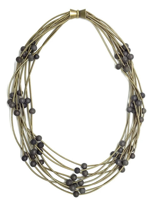10 layer bronze necklace with gray geo