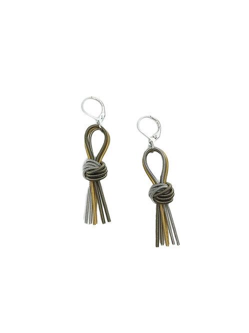 multi knot tassel earring
