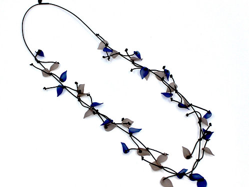 long leather necklace w/blue&gray resin leaves