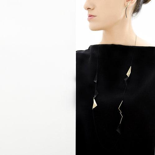 Weave Long Necklace Black Gold
