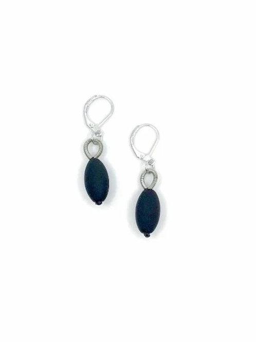 black bead earring