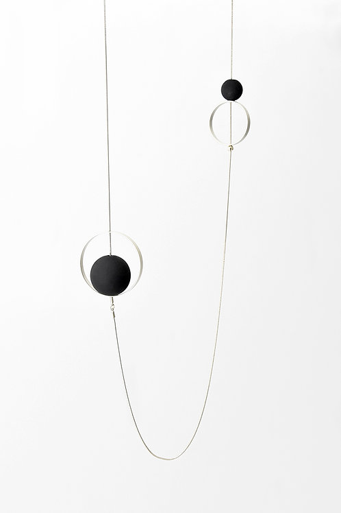 Spindles Long Necklace Silver Black