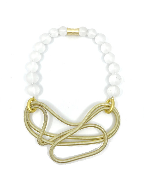 frosted glass with gold chunky free form wire necklace