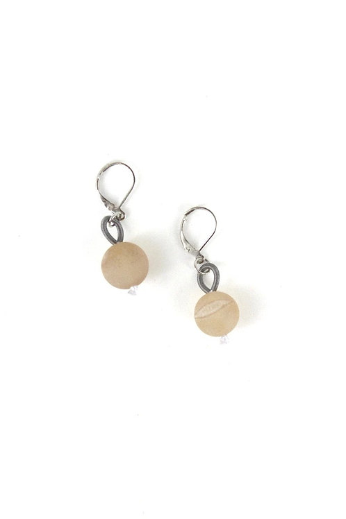 slate with apricot geode earring