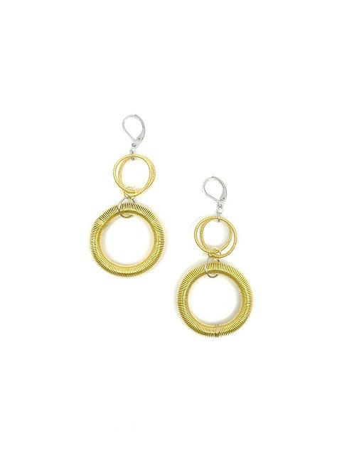 Bright gold large loop drop earring