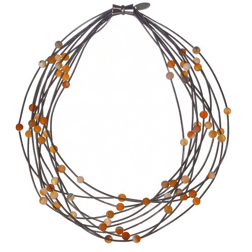 10 layer slate necklace with apricot geo