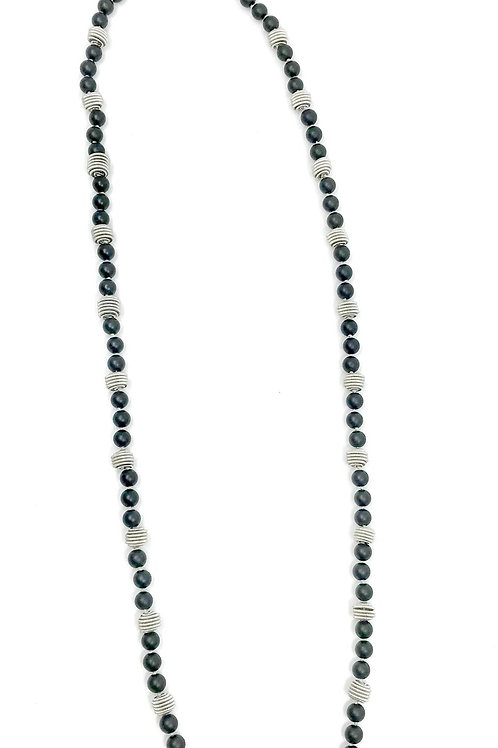 long matte black onyx necklace with silver coil