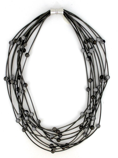 10 layer slate necklace with silver-slate geo